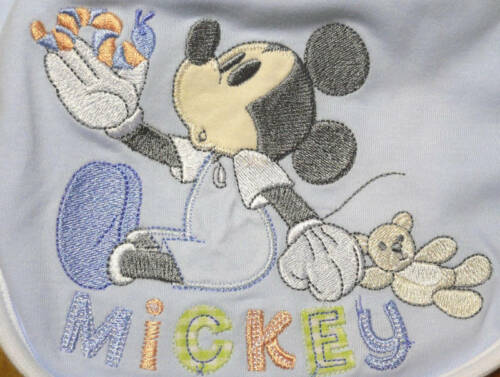 MICKEY MOUSE~Infant BIBS Set~2~Light Blue Bibs~NWT~Disney Store
