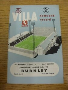 24-03-1962-Aston-Villa-v-Burnley-Crease-Folded-Thanks-for-viewing-this-item