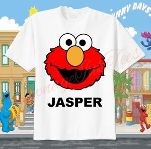 58a9a41a Elmo Face Sesame Street Custom T-shirt PERSONALIZE Birthday gift Tee ...