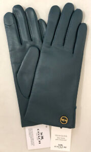 Genuine-COACH-Tech-Gloves-for-Women-Leather-w-Wool-Lining-Teal-MSRP-148