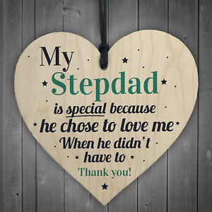 Image Is Loading Stepdad Wood Heart FATHERS DAY Gifts For Him