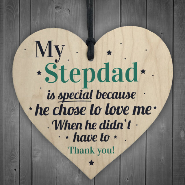 Stepdad Wood Heart FATHERS DAY Gifts For Him Daughter Son Birthday Thank You