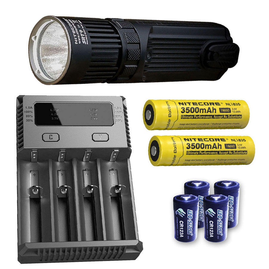 Nitecore SRT9 Flashlight w/I4 Charger, 2x NL1835 & 4x CR123A Batteries