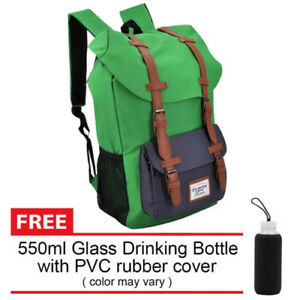 Everyday-Deal-Travel-Backpack-Green-Navy-Blue-FREE-Glass-Drinking-Bottle-SL