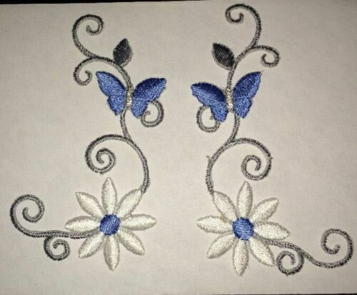 On Applique Butterfly of Flower Stem Fully Embroidered Iron