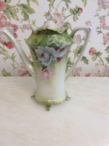 RS PRUSSIA ANTIQUE PORCELAIN Footed Tea Pot