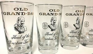 Rare-Vintage-Old-Grand-Dad-Bourbon-Glass-Tumbler-Hi-Ball-Bar-Cocktail-Set-Of-4