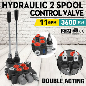 2-Spool-Hydraulic-Directional-Control-Valve-11gpm-Adjustable-Tractors-loaders