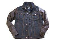 Protocol Parish By Jimmy Jones Varsity Jacket Denim Leather Retail $348+tax
