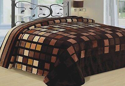 Modern Blanket Warm Super Soft Throw Bedding Fleece Brown Beige Blocks King L@@K