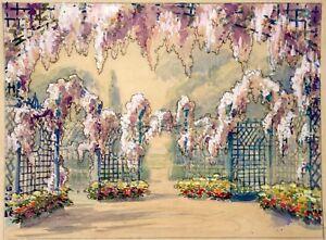 Bailly Alexandre (1866-1947) Grande Aquarelle Jardin Fleurs La RéPutation D'Abord