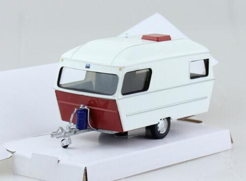 Wohnwagen Anhänger rot weiß 1:43 Cararama Modellauto