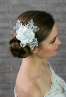 Bridal Wedding Ivory/white Satin Lace Rose Flower Corsage Hair Comb