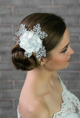 NEW Bridal Wedding Ivory/White Satin Lace Rose Flower Corsage Hair COMB