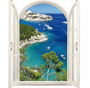 sticker fen tre trompe l 39 oeil calanques 64x80cm 040 ebay. Black Bedroom Furniture Sets. Home Design Ideas