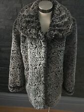 Dennis Basso Textured Grey Faux Fur Jacket Size Small Bnwot