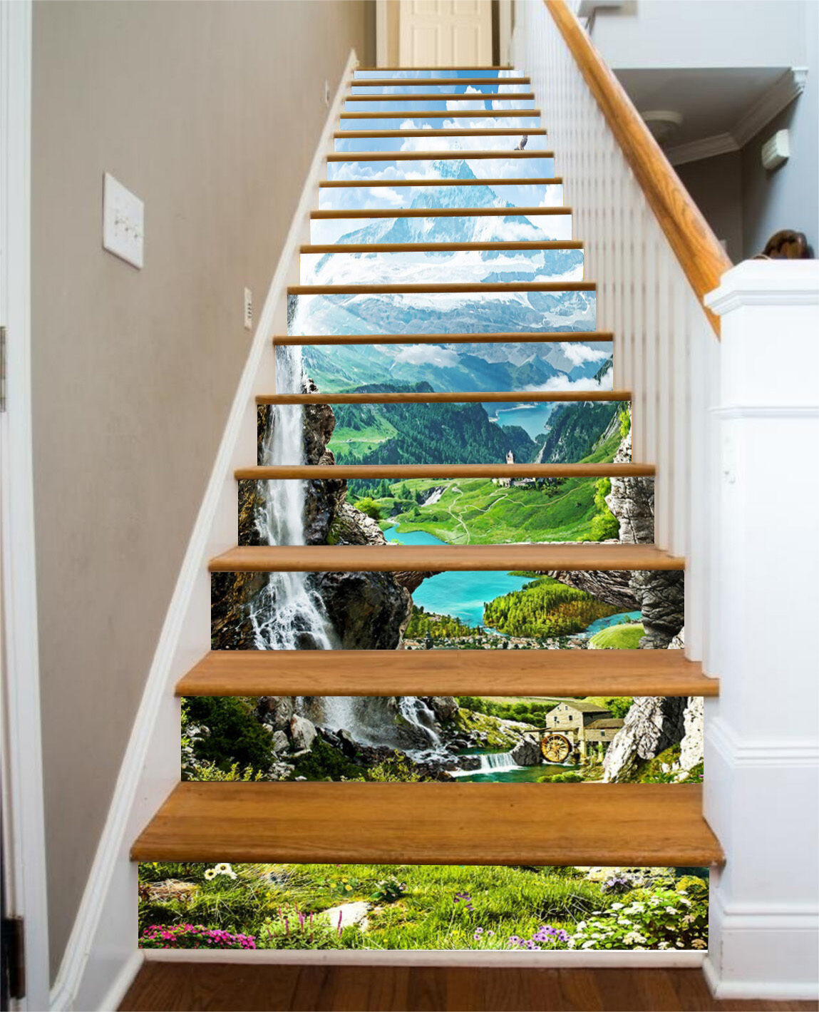 3D Landscape sky 6 Stair Risers Decoration Photo Mural Vinyl Decal Wallpaper UK
