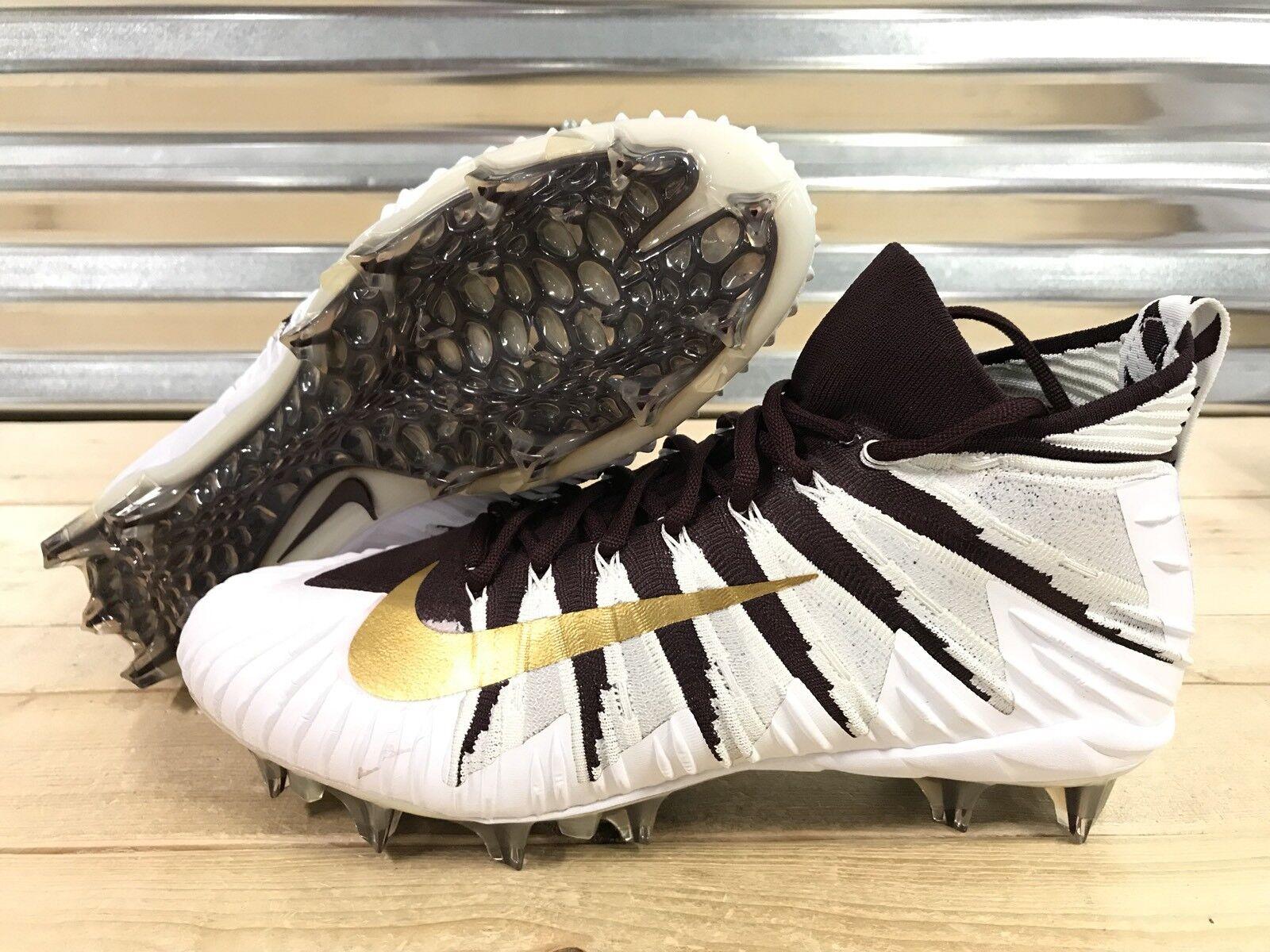Nike Alpha Menace Elite Football Cleats Maroon Metallic Gold SZ ( 877141-671 )