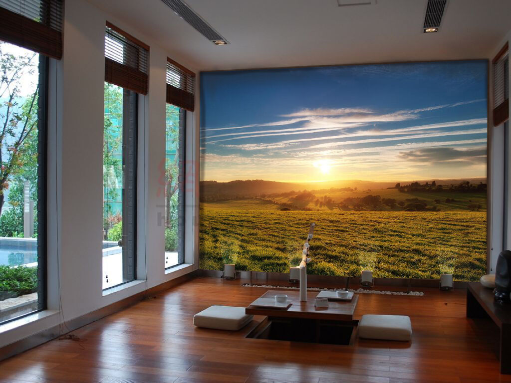 3D Sunrise Grassland 7252 Wall Paper Wall Print Decal Wall Deco Indoor Wall