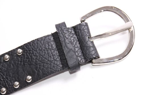 Western Style Black Textured Belt w White Patches/& Silver Studs/& Crystals S398