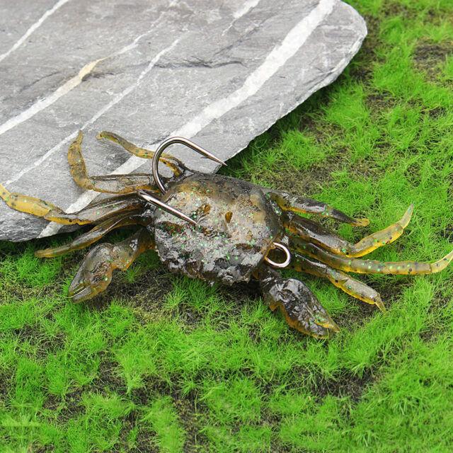 1//3//5//9Pcs 10cm 3D Manic Crab Lures Bass Wrasse Cod Sea Fishing Hook Tackle Bait