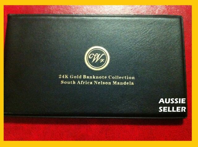 SOUTH AFRICA GOLD ALBUM  5 BANKNOTE VERY RARE 24KT 99.9 BANK NOTE COA