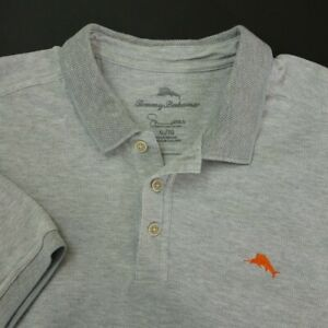 Tommy-Bahama-Mens-Polo-Shirt-Size-XL-Short-Sleeve-Gray-Cotton