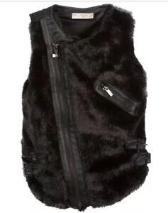 Black Læder År Faux Vanentina Størrelse Gilet 16 Supertrash 176 Fur Girls Bnwot wYqtS61