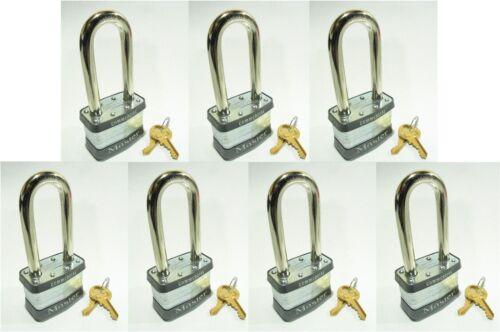 Lot of 7 KEYED ALIKE Long Shackle Laminated Padlocks Lock Set by Master #5KALJ