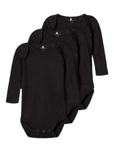 name it 3er Pack Baby Body langarm Gr.50-98 Strampler schwarz Bodies Bodie neu