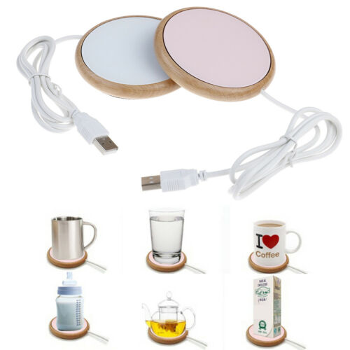 1X Usb Holzmaserung Tassenwärmer Wärme Getränkebecher Matte Büro Tee Kaffee  CL