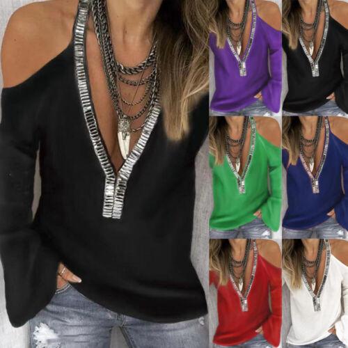 Women Cold Shoulder Tee Pullover Sequins Blouse Loose T Shirt V neck Ladies Tops