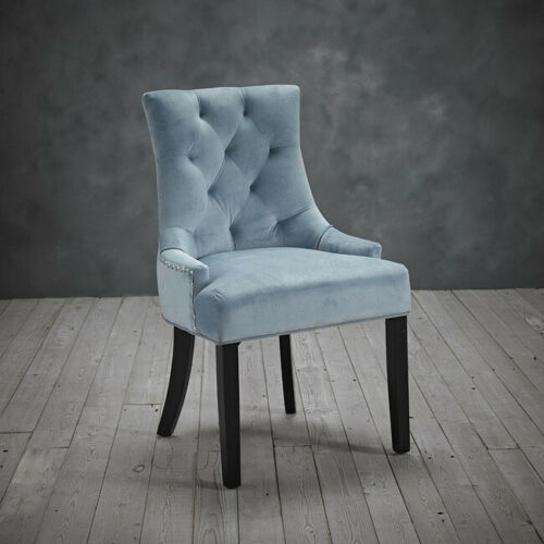 PAIR OF 2 PALE BLUE MATTE VELVET OCCASIONAL UPHOLSTERED CHAIRS WITH RINGPULL