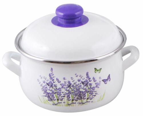Topf Emaille mit Deckel Lavendermuster Email Traditionell Kochtopf 18 cm 2,4 l