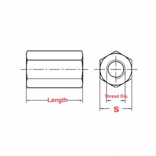 M3//Pitch 0.5mm PCB Messing Sechskant Muttern Distanzstücke Abstandshülsen丨S=6
