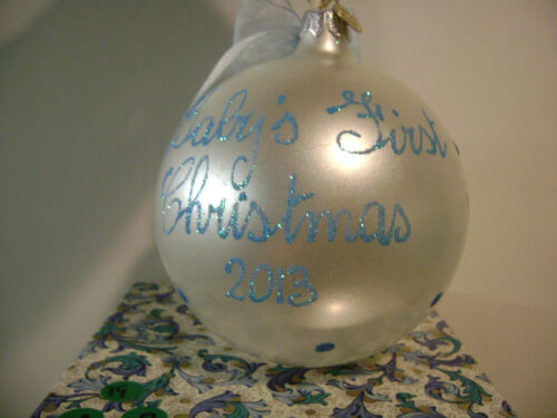 LORD /& TAYLOR BLUE BABY /'S FIRST CHRISTMAS BOY ORNAMENT IN BOX 2013