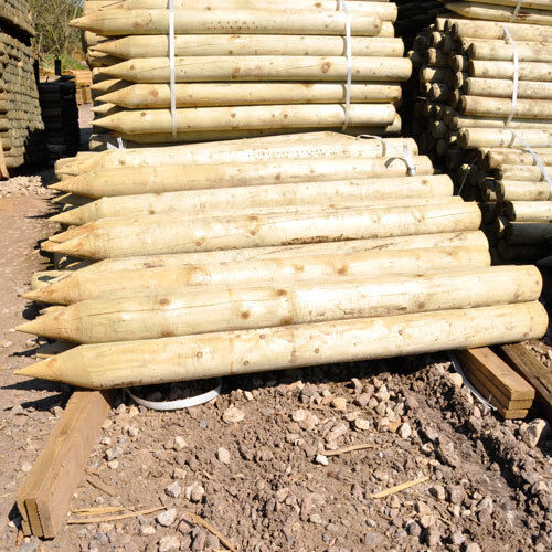 10 1.65M tall X 75mm round pointed treated wooden fence posts fencing wood