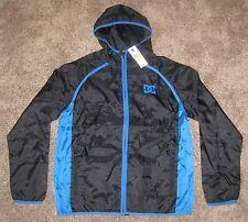 MENS MEDUM M DC ShoeS WIND BREAKER Full zip Casual HOODED Jacket BLACK BLUE