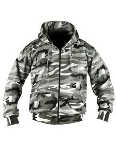 Biker Camo Hoodie Full Zip Fashion Fleece Urban Military zwU0qtdnx