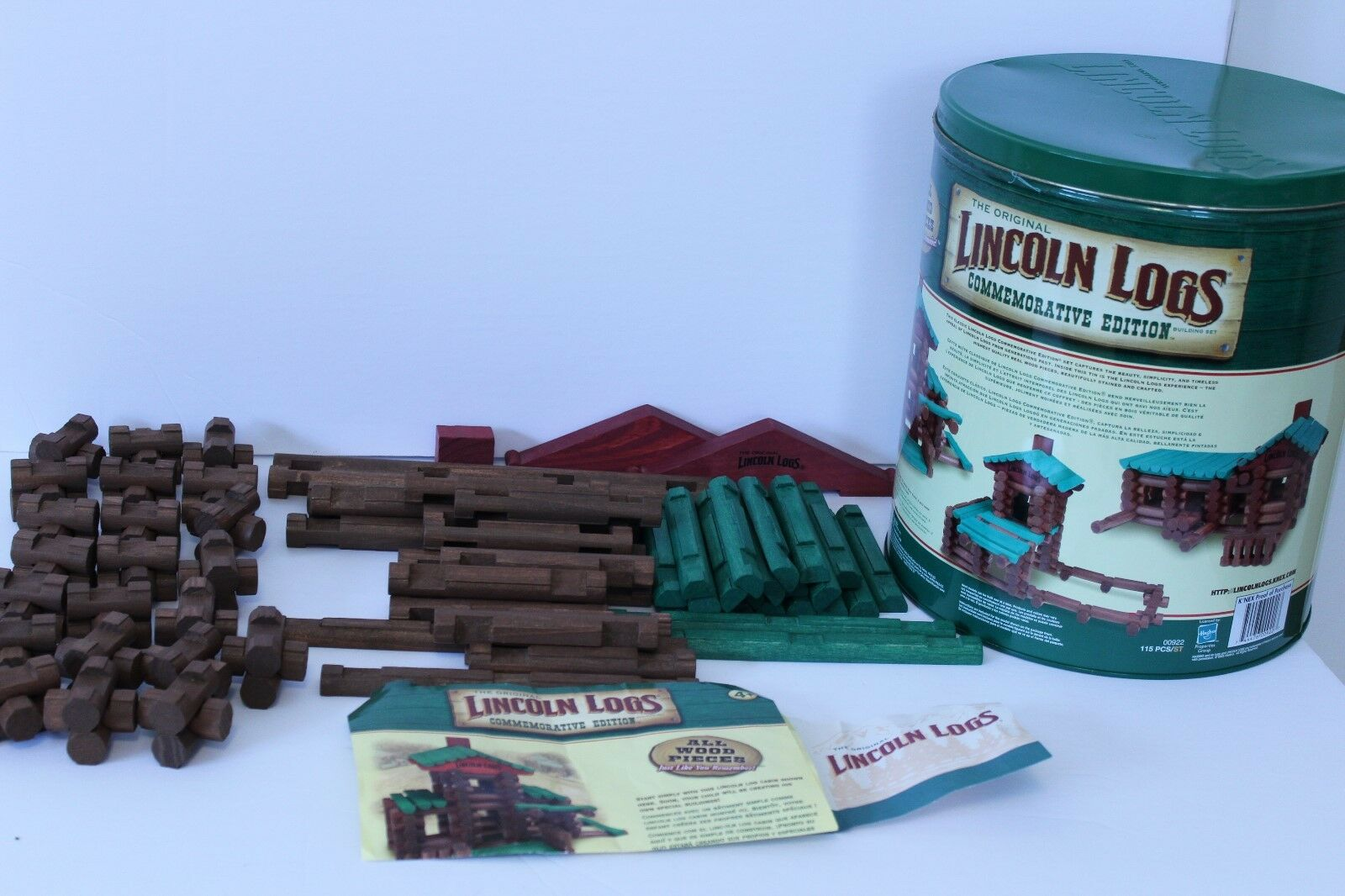 WOODEN LINCOLN LOGS COMMEMORATIVE REAL WOOD BUILDING SET 00922