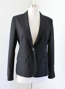 Theory-Womens-Gabe-Solid-Black-Wool-Blend-One-Button-Blazer-Suit-Jacket-Size-6