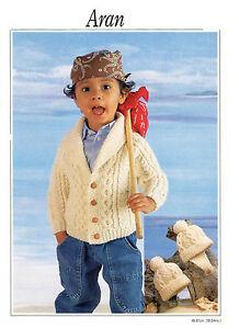 fe84ed6ba7cc17 Image is loading baby-childrens-boys-jacket-and-hats-aran-knitting-