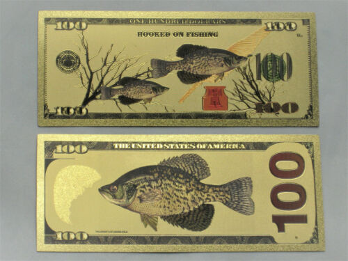 2 Crappie Banknotes Fishing Lures Jigs Money Bill Rod Reels Spoons Soft Plastics