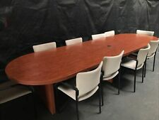 12x35 Large Oval Conference Table With Tan Chairs