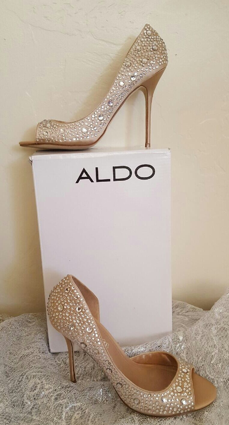NUDE CRYSTAL ALDO PEEP TOE PUMP STILETTO HEELS BRIDAL PARTY CLUB CRUISE