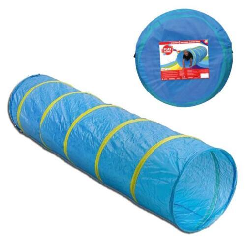 Pop-Up Kinder Spieltunnel Kriechtunnel Blau Krabbeltunnel 185cm lang mit Tasche
