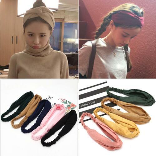 Women Girl Wide Elastic Cross Knot Headband Sport Hair Band Yoga Headwrap Turban