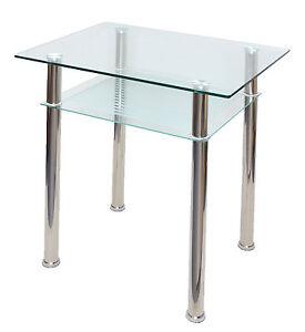Glastisch beistelltisch esstisch k chentisch 80 x 60 cm edelstahl und glas neu ebay for Beistelltisch glas edelstahl