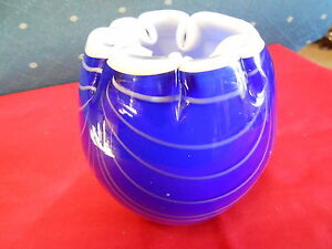 8542dc996f33 Beautiful Cobalt and White Studio/Handcrafted ART GLASS Vase ...