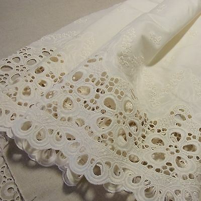 1 yd Vintage Style Embroidery Cotton Eyelet Lace Fabric Natural Ivory 70cm Wide